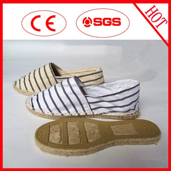 2015 Newest Stripe Design Jute Sole Canvas Shoes