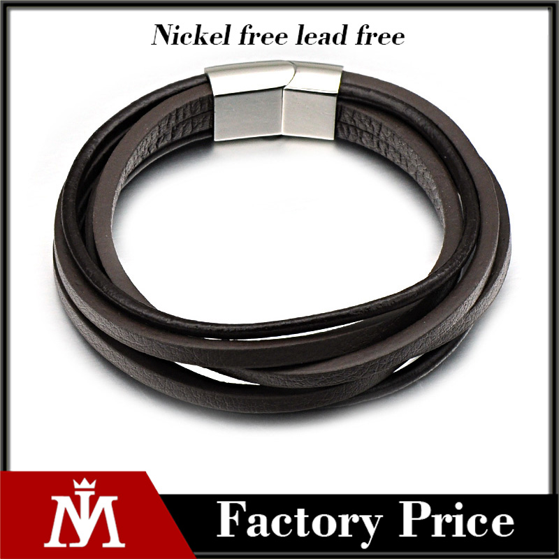 Punk Brown Multi Layered Bracelet Stainless Steel Jewelry Bulk Genuine Leather Bracelet For Men