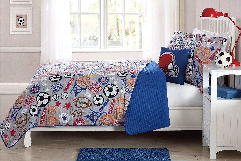 Fancy Linen 4 pc Full Size Bedspread Coverlet Sport Grey Blue Red Orange Black Football Soccer Ball Baseball Basket Ball Reversible New# Super Star (Full)