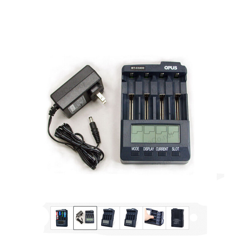 Opus BT-C3100 V2.2 Thông Minh LCD 4-Slots Battery Charger Analyzer Tester Li-Ion NiMH AA AAA 10440 14500 16340 18650 Battery Charger