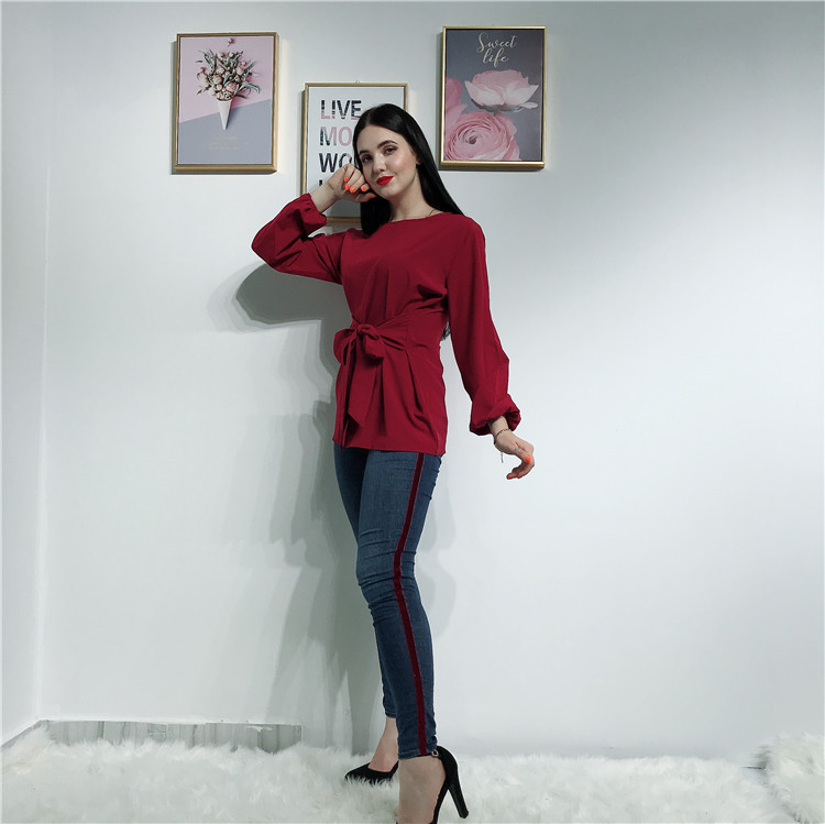 New arrival high quality fashion design wine red muslim ladies blouse tops for women