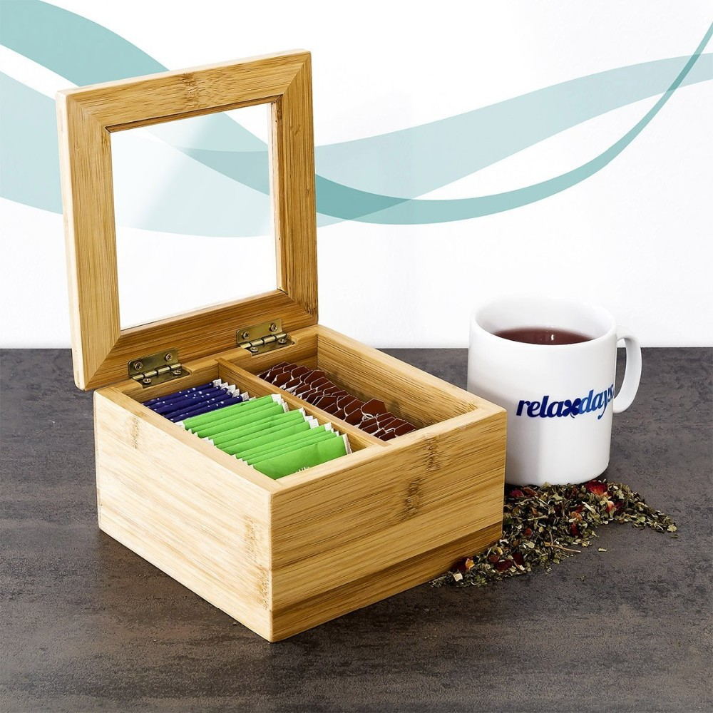 Bamboo Wooden And Acrylic Tea Bag Organizer MM-170217-03 Details 4