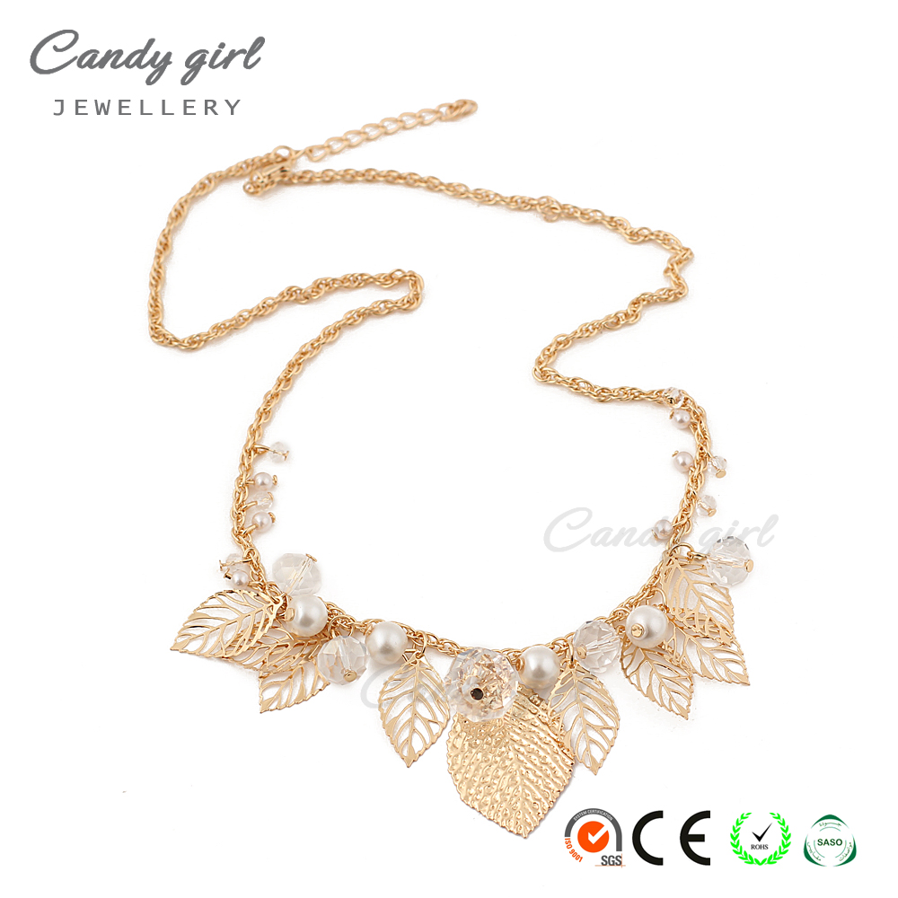 candygirl brand 2017 latest design leaves collocation pearl metal fashion women necklace