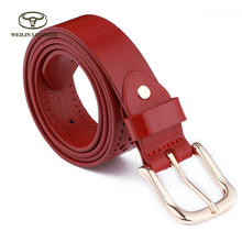 Custom Fashionable Genuine Leather Hollow Belt For Women with Pin Buckle
