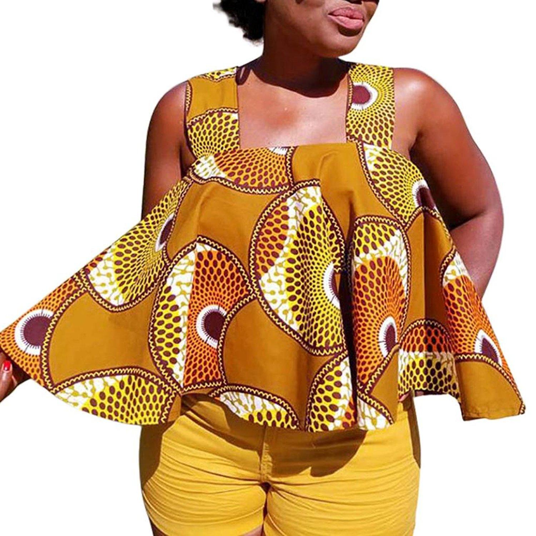 9220834b92 Get Quotations · Summer Vest Zulmaliu Women African Sexy Crops Flowy Print  Cami Tank Tops