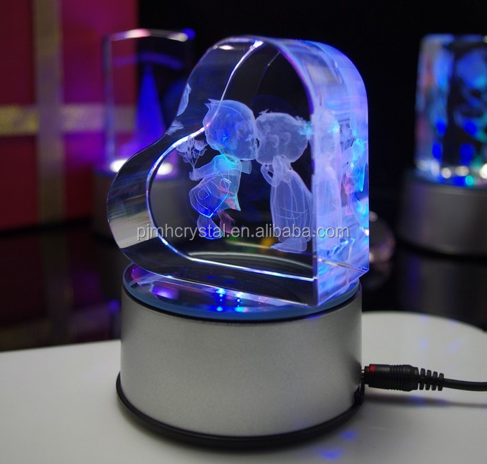 crystal wedding gifts Heart Shaped 3D Laser Engraved crystal Glass Cube with led light MH-FT0021