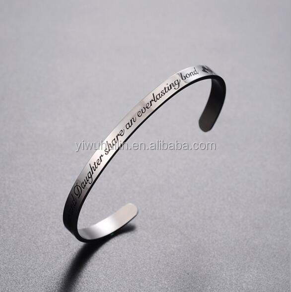 MS008 Yiwu Huilin Jewelry Stainless Steel Daughter share an everything bond inspirational letter bracelet bangle