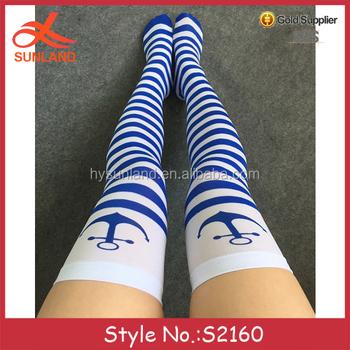 3a816d63a7b S2160 new design women girls thigh high socks dye sublimation printing  wholesale