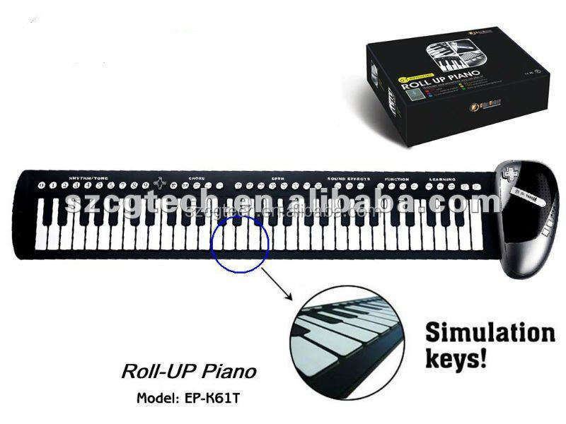 flexible 61 keys silicone folding piano,roll up, roller piano,piano ep-k61t