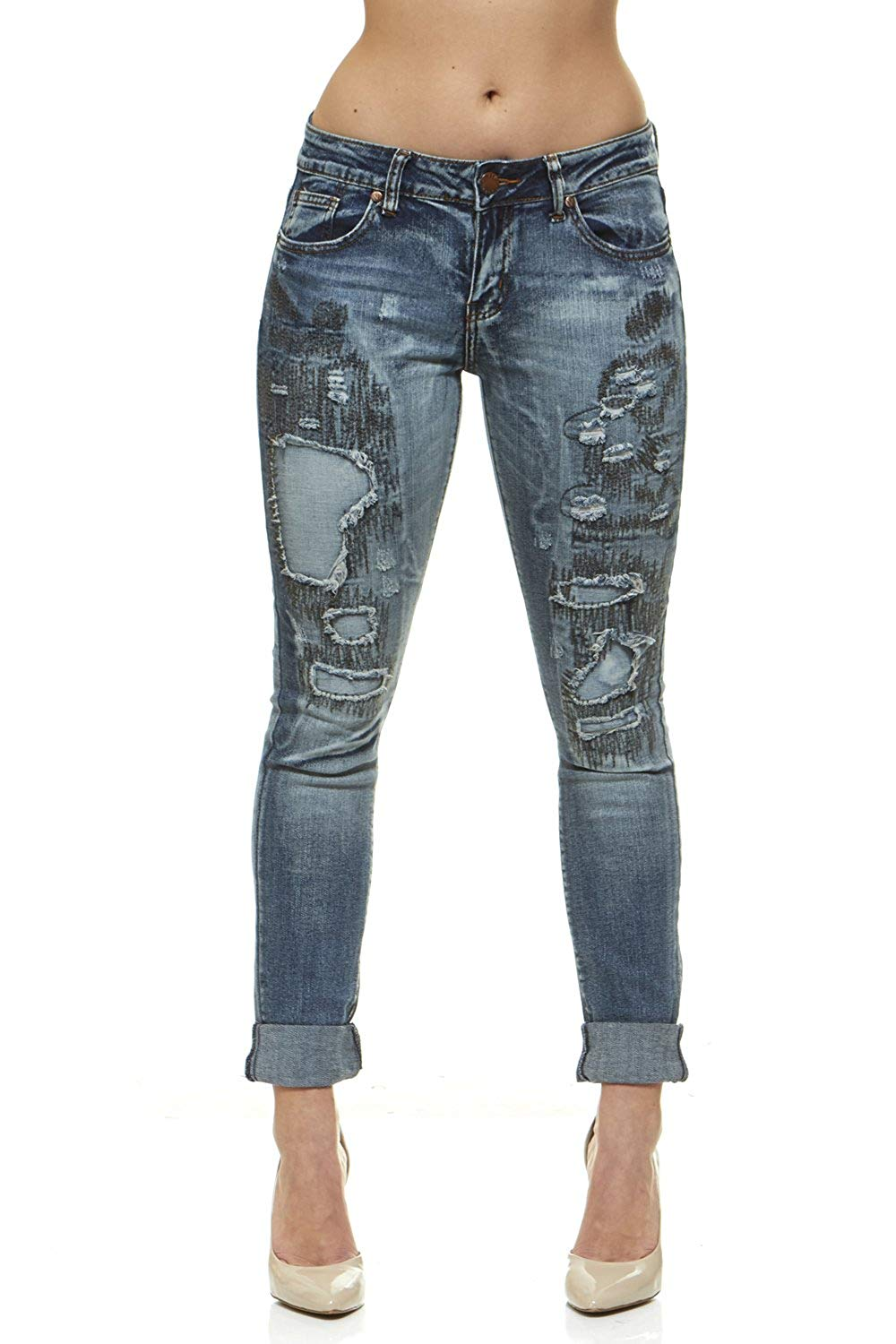 810cd6f948b Get Quotations · V.I.P.JEANS Jeans for Women Distressed Skinny Ripped Jeans  Slim Fit Stretchy Dark Wash Junior Size