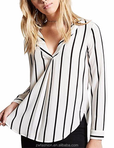 Hot Selling Latest Fashion design Stripe Women Tops long sleeve ladies blouse