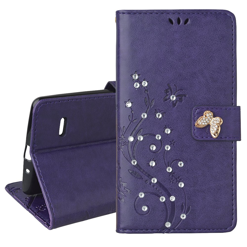 Spritech(TM) LG G Stylo Cellphone Bling Case,PU Leather Wallet Slim Fold Phone Cover 3D Handmade Bling Rhinestone Floral Design with Card Slot,Purple