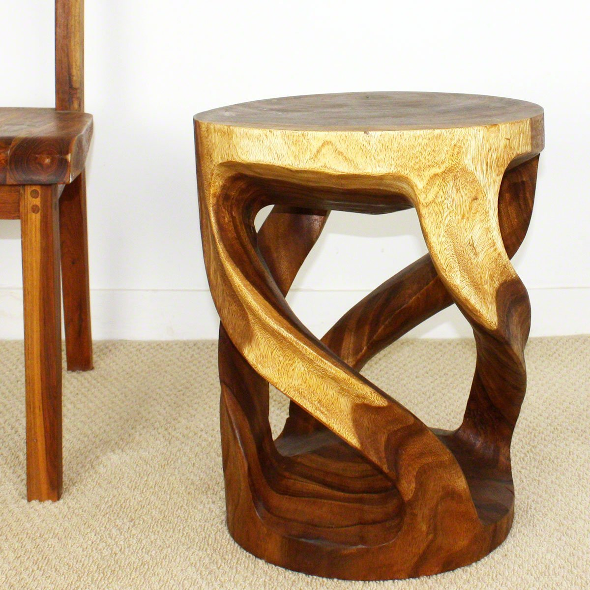 Haussmann Tapered Round Wild Twisted Vine Wood End Table 16x14x20 inch Ht w Walnut Oil Fin