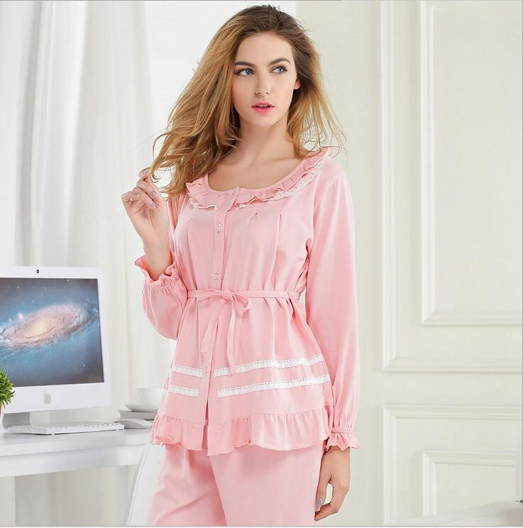 DM 770 Ladies Spring Cotton Ruffle Lace Sweet Comfortable The Waist Solid Color Loungewear Women's Pajama Set
