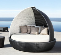 Sophisticated canopy design white and black rattan outdoor sun lounger wicker patio bed round