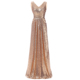 2018 High Neck Shiny Silver Sequin Gold Evening Dresses Long Gowns Special Occasions Prom Dress WS3101