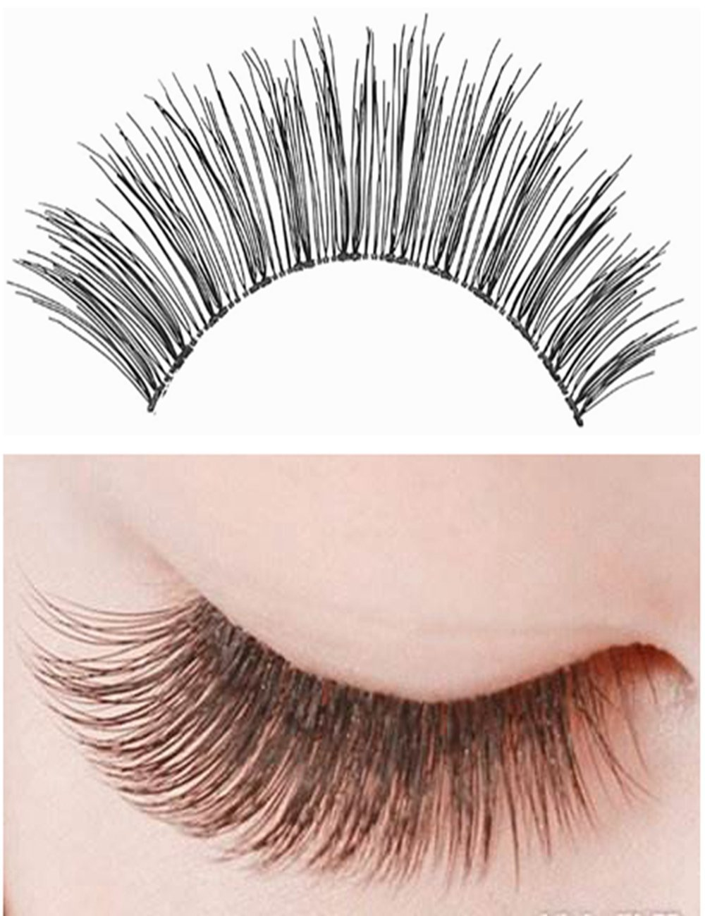 6f4df707b26 Get Quotations · Human Hair Fake Eyelashes Lightweight False Eyelashes  Handmade Natural Hair Eyelashes In Style Black Wholesale