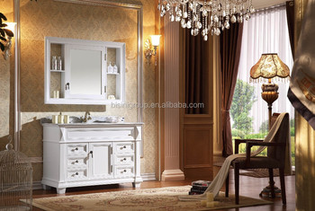 Vintage bianco elegante vanità bagno in legno european style