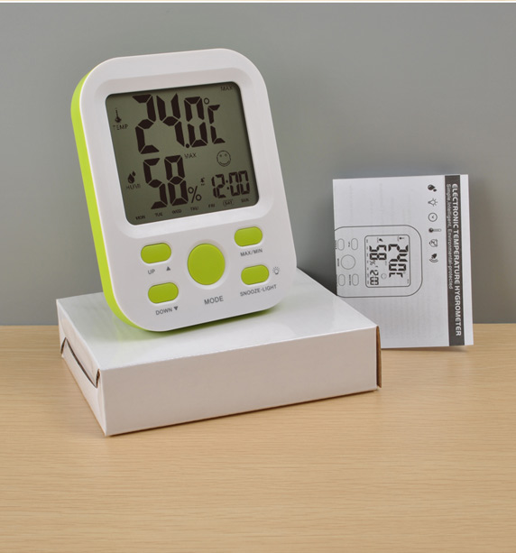 LCD snooze light travel alarm clock temperature and humidity display alarm clock