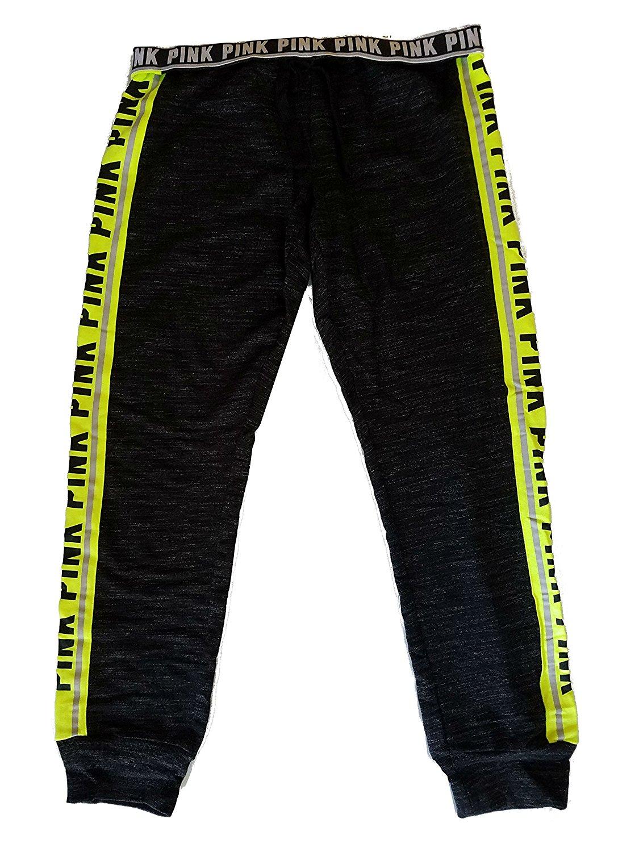 304137a40c298 Get Quotations · Victoria's Secret PINK Gym Pant Sweatpants Neon Logo Large  Marl Black