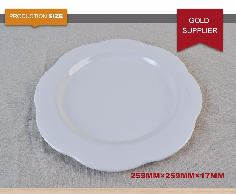 Customized melamine bulk flower shape charger plate for wedding