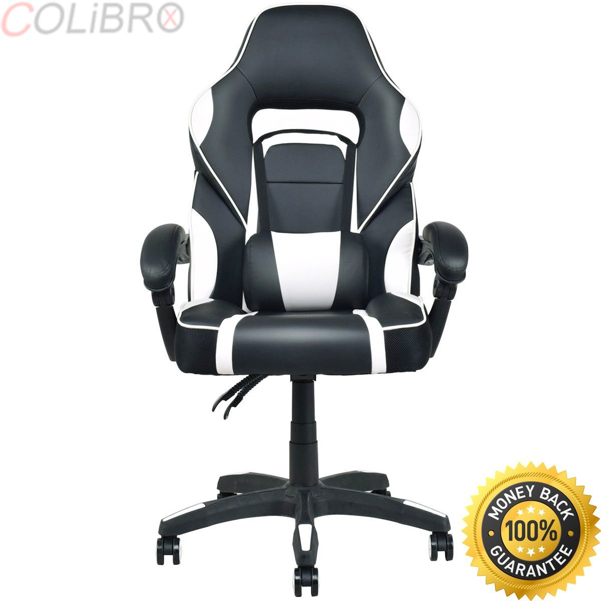 COLIBROX--Executive Racing Style PU Leather Gaming Chair High Back Recliner Office White.best choice products executive racing office chair. racing office chair cheap. best gaming chair amazon.