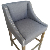 China Whosale fabric high bar chair with armrest, wooden barchair with nailhead