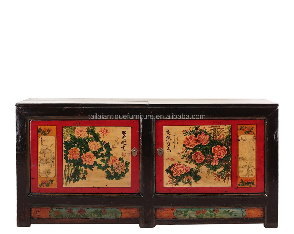 antique chinese tibet painted cabinet /tibetan furniture