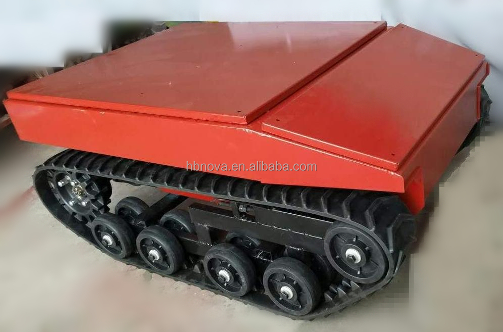Wireless remote controlled electrial rubber track robot tank chassis for fire fighting