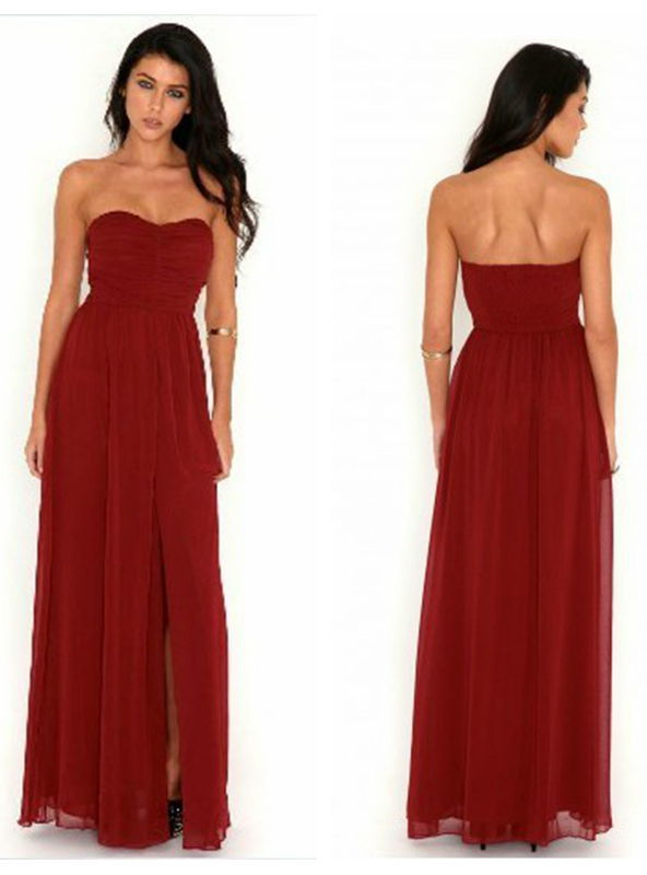 3e12c9fed1e Get Quotations · Dark Red Bridesmaid Dress Sexy High Slit Chiffon High  Waist Sweetheart Mopping Floor Length Custom Bridesmaid