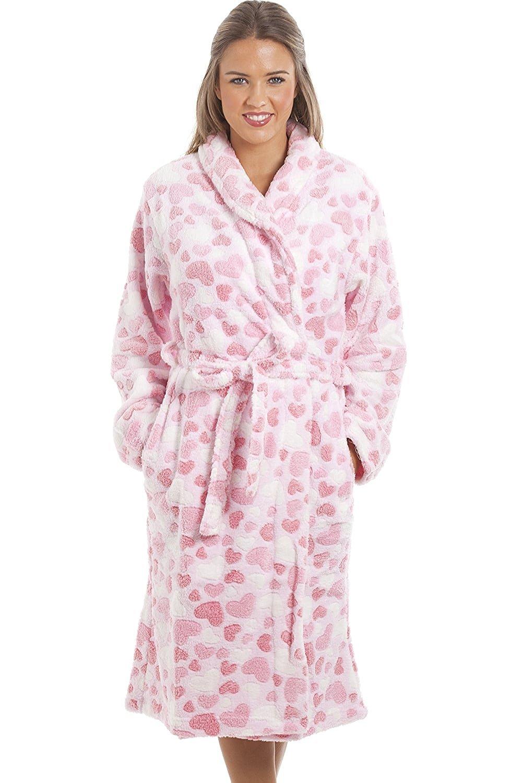 b8fda993f3 Camille Womens Ladies Supersoft Fleece Light Pink Heart Print Bathrobe