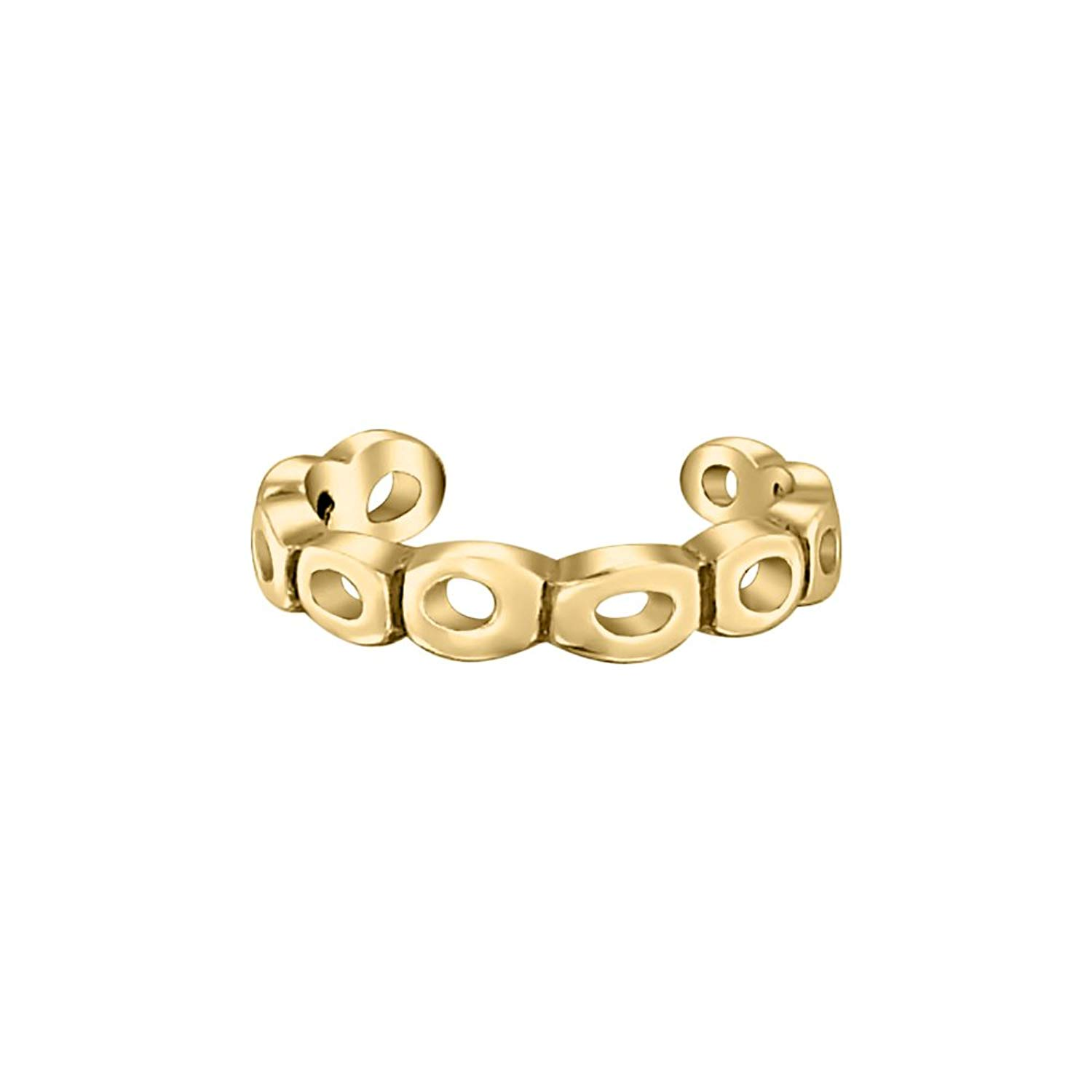 SVC-JEWELS 14K Rose Gold Plated Scroll Wide Midi Ring Adjustable Wire Swirl Toe Ring