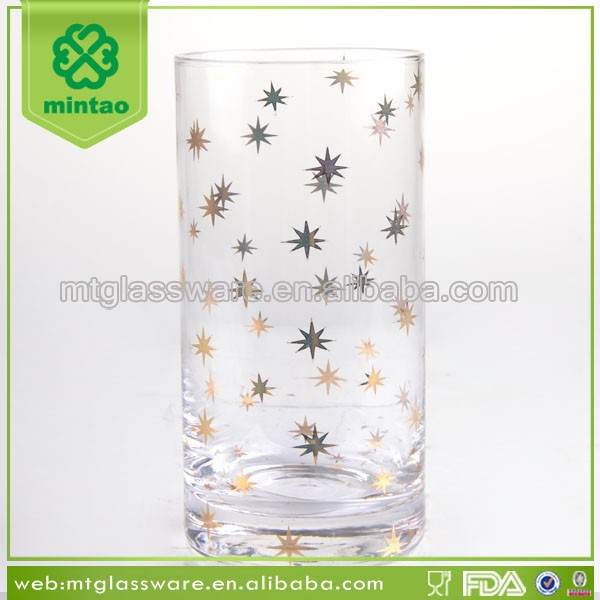 Gold star decal decor coloured round glass tumblers