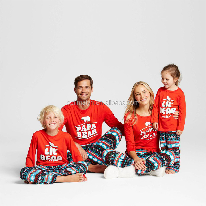 7599637cb567 Christmas Family Matching Outfits Mom Dad Baby Cotton Pajamas Set Cute Bear  Xmas Cotton Outfits for Family