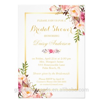 Pastel Water Color Floral Wedding Invitations,Chic Floral Golden ...