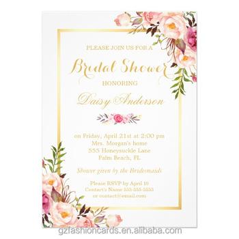 Floral Wedding Invitations.Pastel Water Color Floral Wedding Invitations Chic Floral Golden
