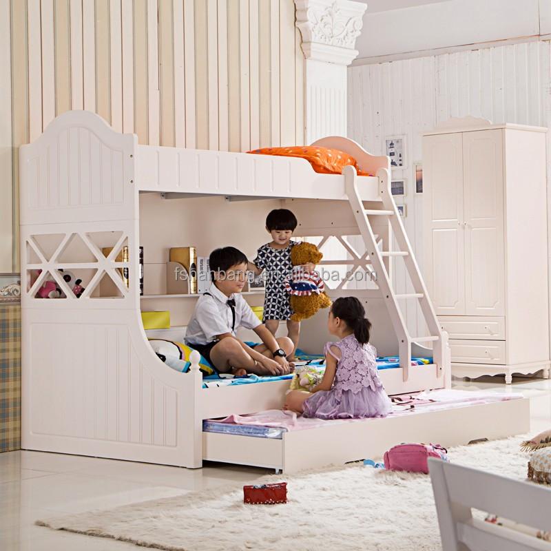 Últimas madera niños litera con diapositivas MDF muebles del cabrito ...