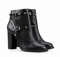 2018 Retro Design Pu Leather Boots For Women Kitten Heel Women Ankle Boots Shoes With Rivet
