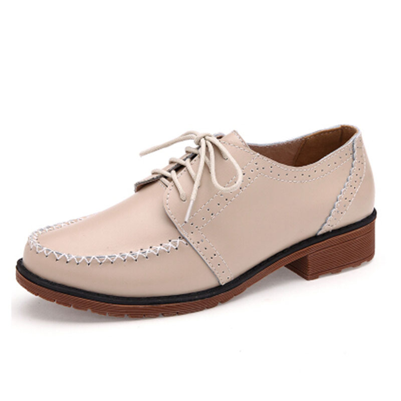 New Arrival Korean 2015 Women Genuine Leather Flats Oxfords Shoes British Style Gommini Student Breathable Mocassin Loafers