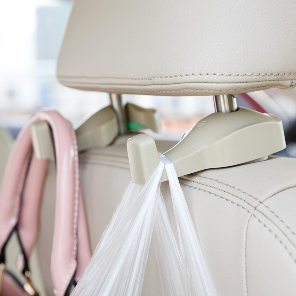 Car Vehicle Back Seat Hidden Hook,2 PCS Universal Car Vehicle Back Seat Headrest Hanger Holder Hook for Shopping Bag Purse Cloth Coat Grocery Handbags Grocery Bag (tan)