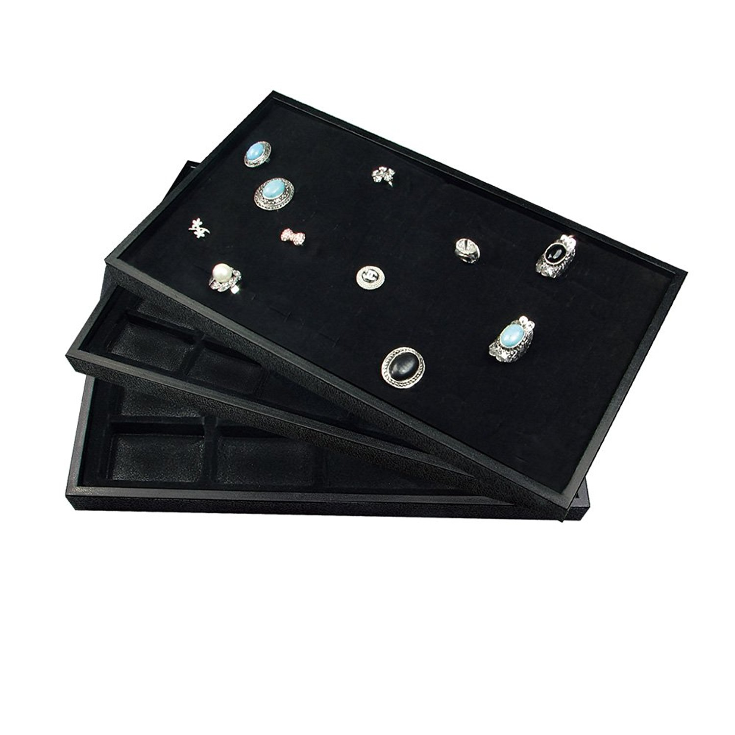Ikee Design® 3 Pieces Set Black Stackable Plastic Jewelry Trays.