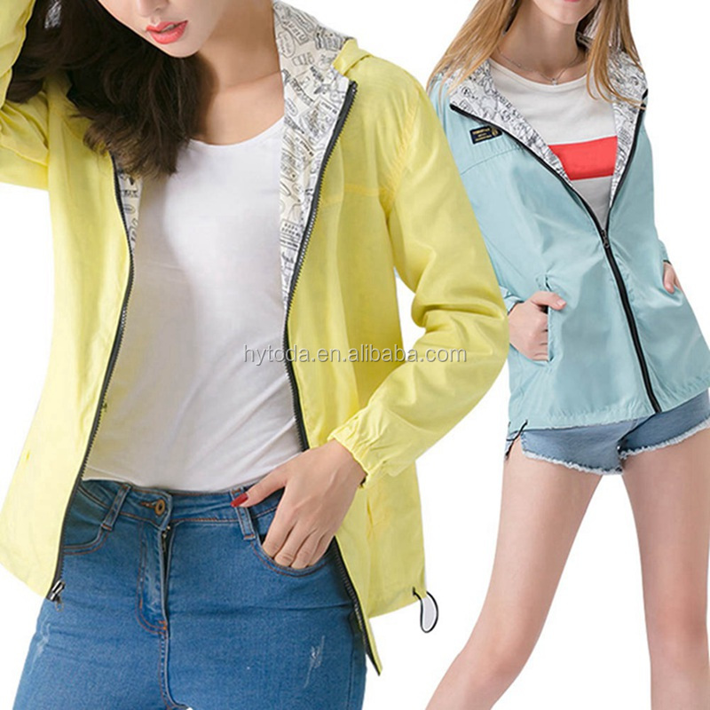 2018 Pocket Zipper Hooded Two Side Wear Thin Cartoon jacket for girl