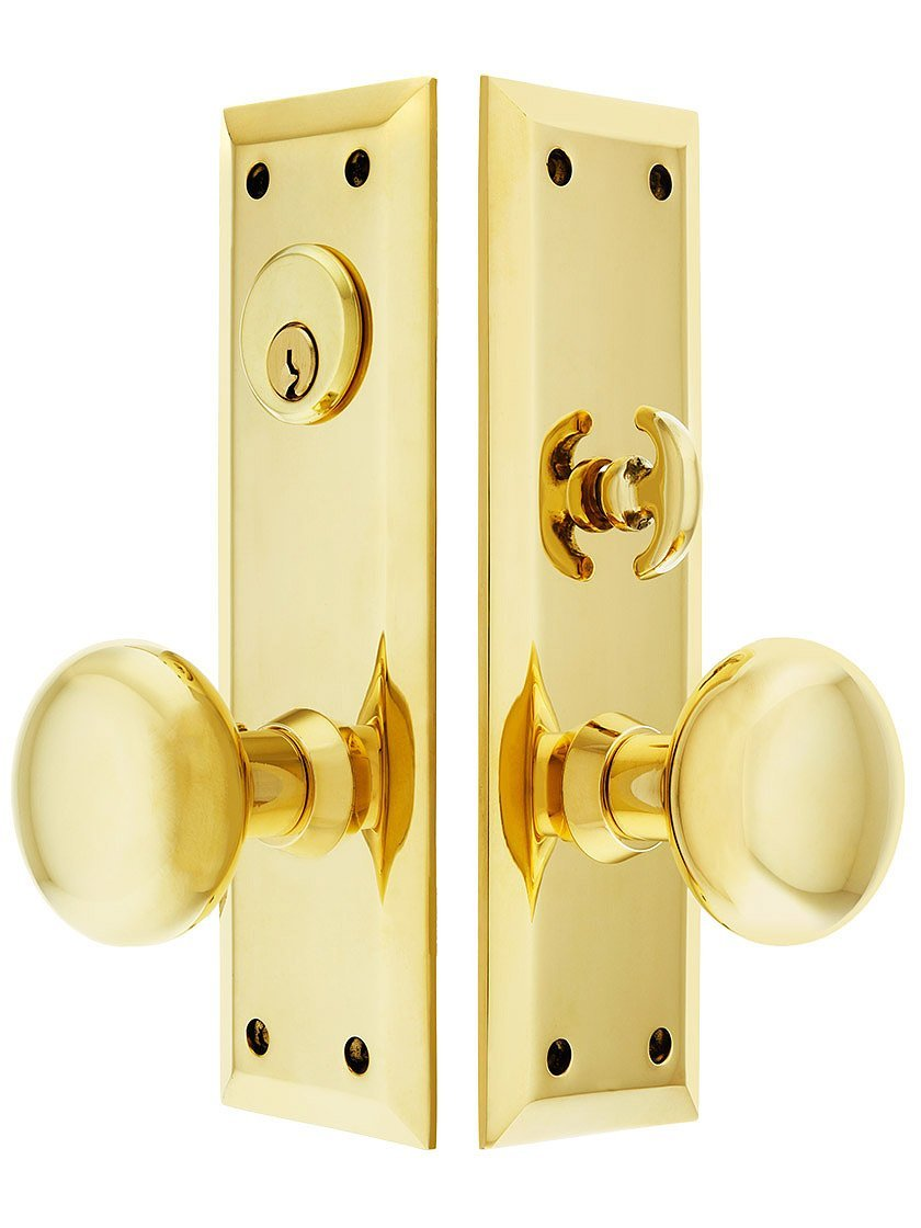 "New York Large Plate Mortise Entry Set in Forged Brass 2 1/2"" backset in Un-Lacquered Brass"