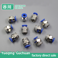Customized 6mm brass pipe fittings,straight thread air hose couplings PC6-03