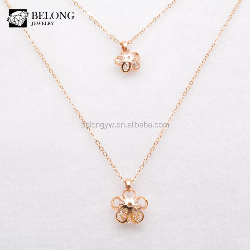 Unique Bln0051 Gold Plated Jewelry Wholesale Double Chain Flower Locket  BR83