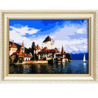 Wholesale popular landscape oil painting by numbers diy