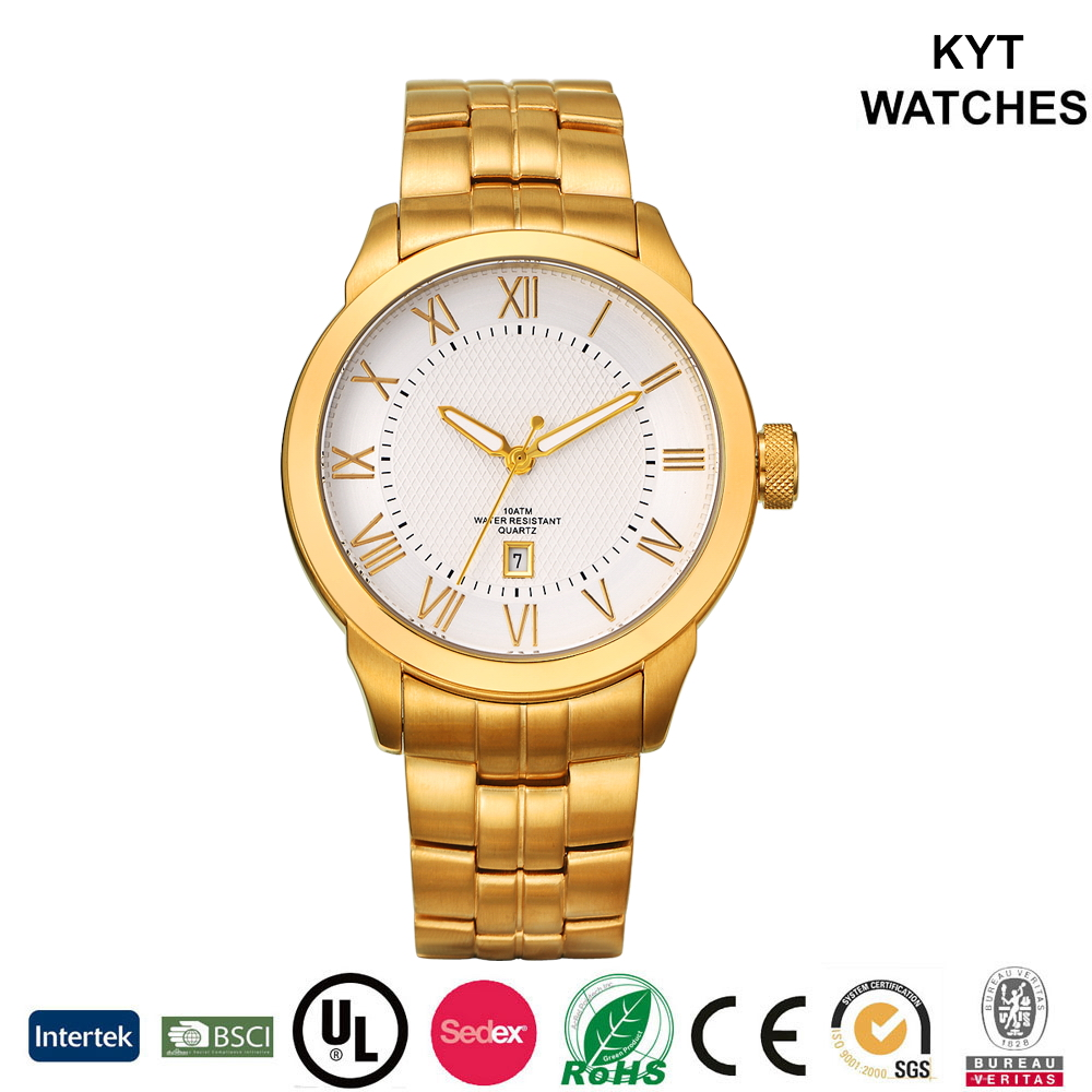 KYT stylish best selling products men's gold japan quartz stainless steel watch water resistant
