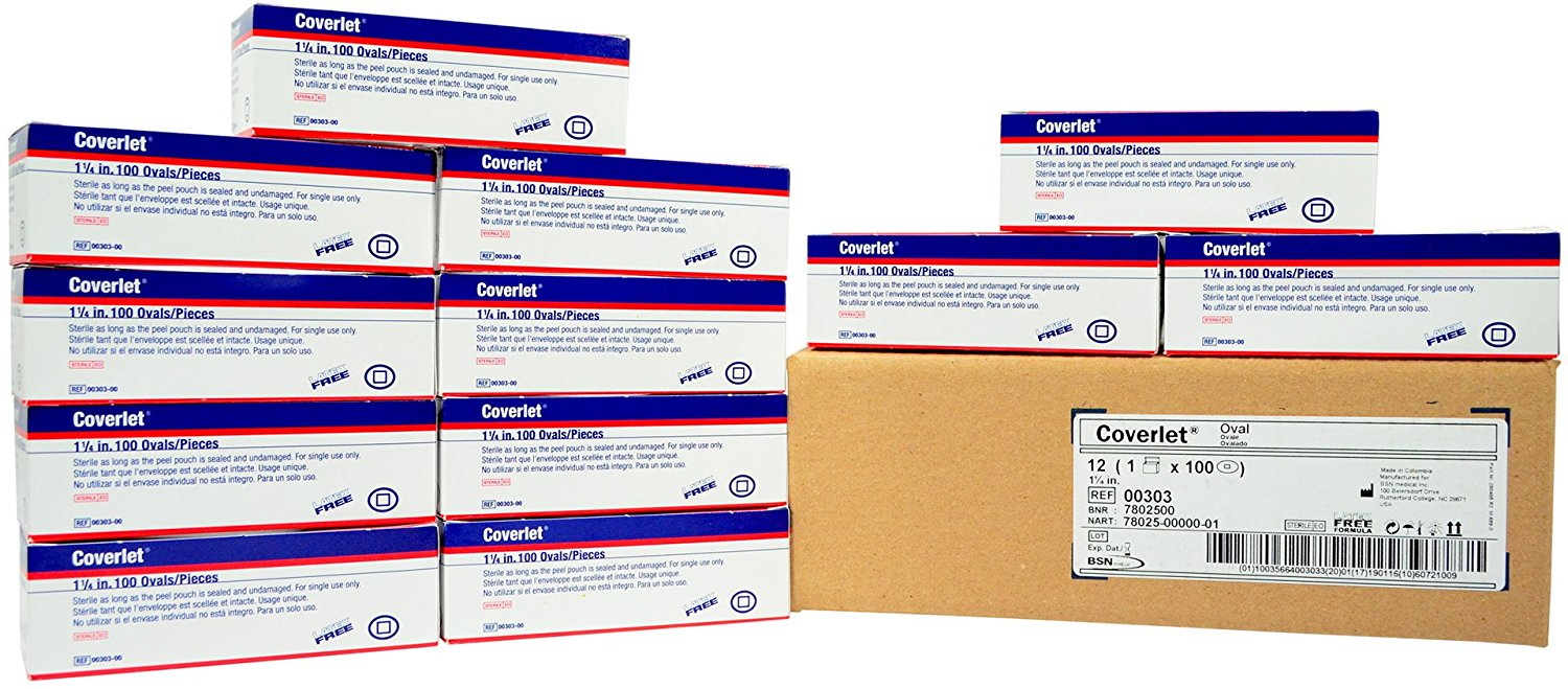 """Coverlet Adhesive Fabric Bandage - Oval Spot - 1 1/4"""" - 12 Boxes of 100"""
