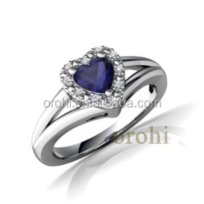 Fashion Heart Design Blue Sapphire Ring Price Solid Gold Ring With ...