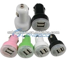 Mini usb Car Charger for iPad for iPhone 4G 4S for iPod, Dual USB port